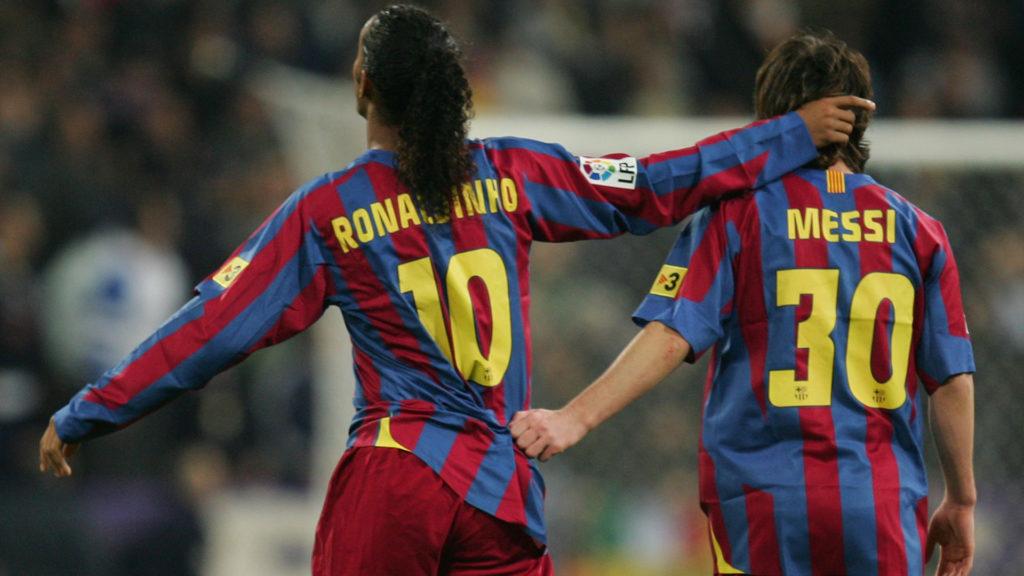 Ronaldinho and Lionel Messi, Barcelona.