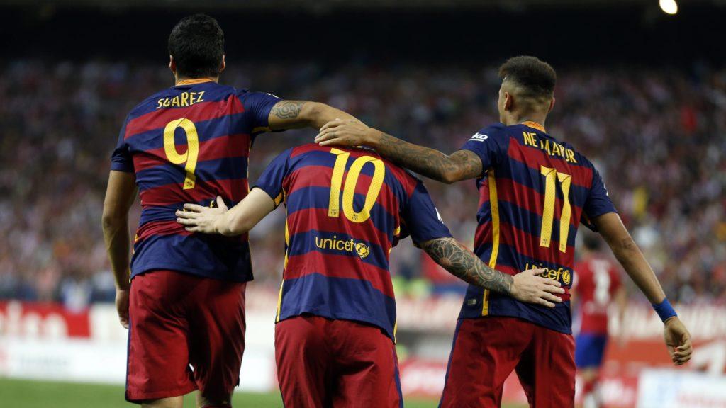 Lionel Messi, Luis Suarez, and Neymar Jr, Barcelona.