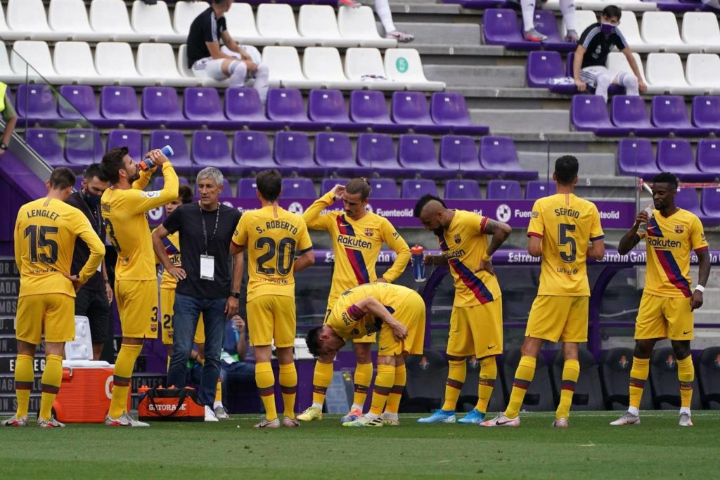 Setien Speaking to Barcelona Players, Real Valladolid CF vs FC Barcelona