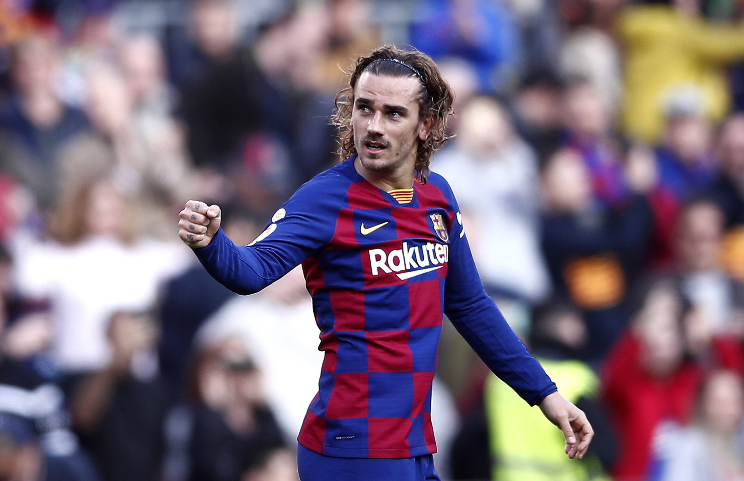 BARCELONA, SPAIN - FEBRUARY 15: Antoine Griezmann of FC Barcelona celebrates after scoring his team's first goal during the La Liga match between FC Barcelona and Getafe CF at Camp Nou on February 15, 2020 in Barcelona, Spain.